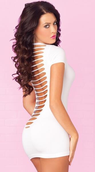 Merry See Seksi Lazer Kesim Beyaz Elbise - MS2148