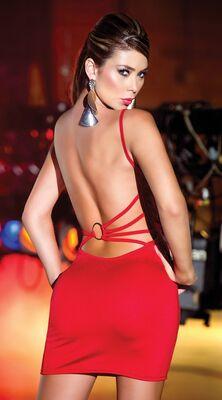 Merry See - Merry See Sırtı Metal Aksesuarlı Kırmızı Mini Elbise MS2957-3