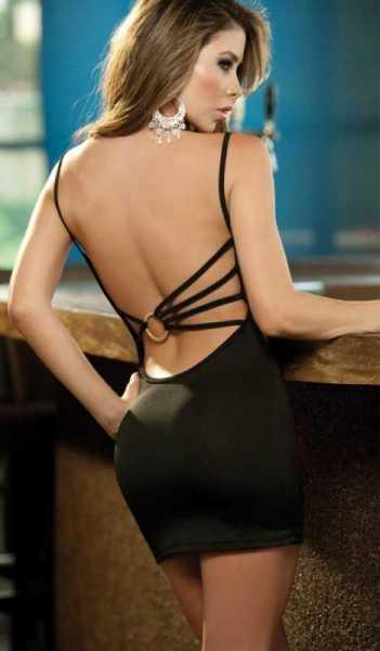 Merry See - Merry See Sırtı Metal Aksesuarlı Siyah Mini Elbise - MS2957-2
