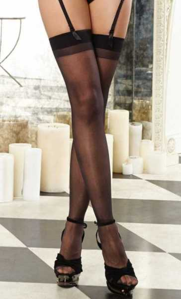 Merry See Siyah Dantelsiz Jartiyer Çorabı - MS5555-1
