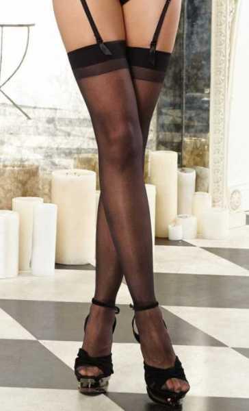 Merry See - Merry See Siyah Dantelsiz Jartiyer Çorabı