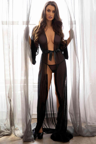 Merry See Uzun Tül Sabahlık Gecelik İç Giyim Siyah MS6367