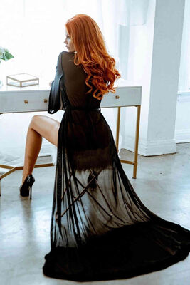 Merry See Uzun Tül Sabahlık Gecelik İç Giyim Siyah MS6367 - Thumbnail