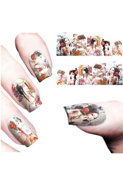 By Yuksel Ozkan - Nail Art Sticker Çiçekli Kız SAT 8183