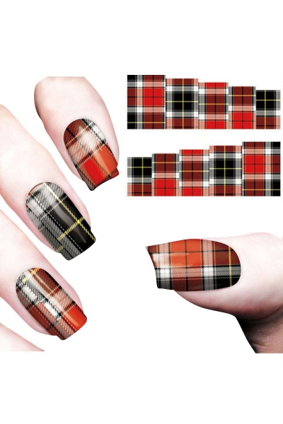 By Yuksel Ozkan - Nail Art Sticker Ekose Kırmızı SAT 8126