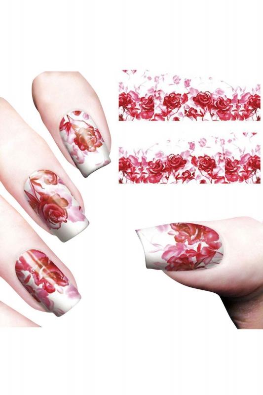 Nail Art Sticker Kırmızı Gül SAT 8161