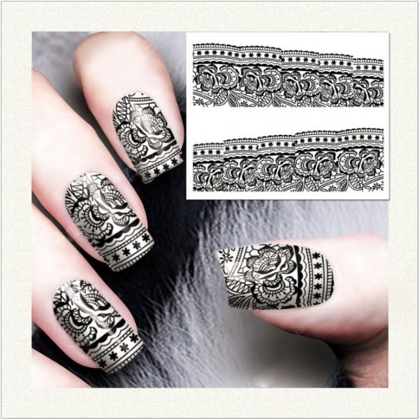 Nail Art Sticker Siyah Otantik SAT 7326 - Thumbnail
