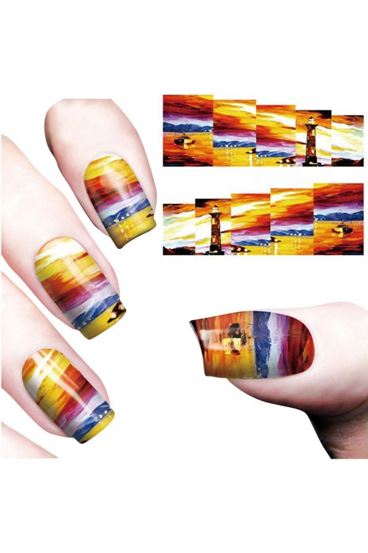By Yuksel Ozkan - Nail Art Sticker Sun Set SAT 8169