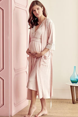 Anıl - Lace Detailed Maternity Nightgown & Maternity Nightgown Set 5508
