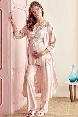 Anıl - Pudra Dantel Detaylı Hamile&Lohusa Pijama Sabahlık Takım 9603