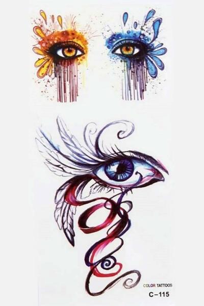 By Yuksel Ozkan - Renkli Göz Geçici Dövme -Tattoo C-115