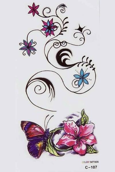 By Yuksel Ozkan - Renkli Kelebek Geçici Dövme -Tattoo C-107