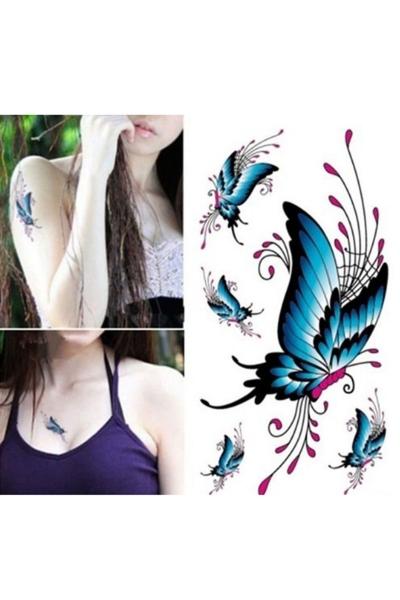 By Yuksel Ozkan - Renkli Kelebek Geçici Dövme -Tattoo S-037