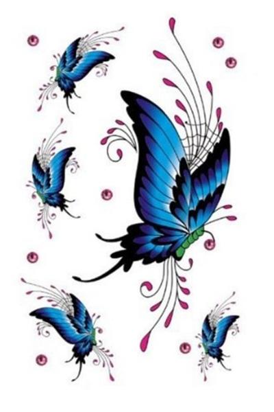 Renkli Kelebek Geçici Dövme -Tattoo S-037 - Thumbnail