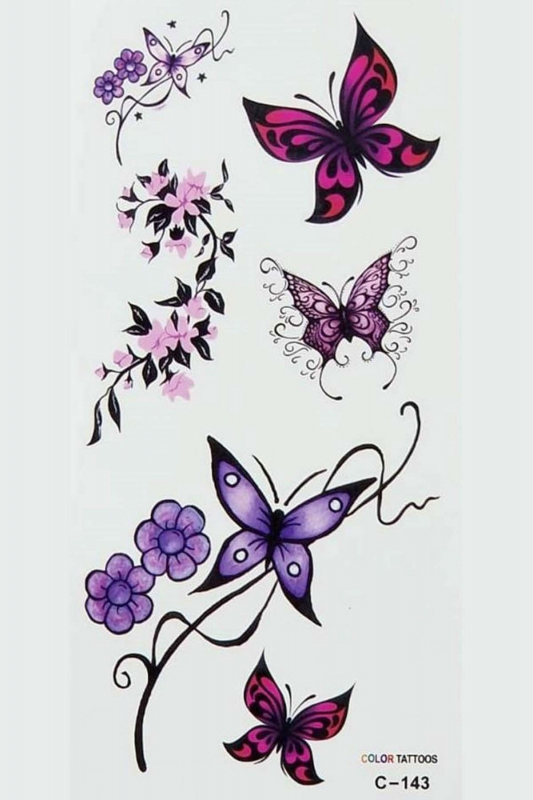 Renkli Kelebekler Geçici Dövme -Tattoo C-143