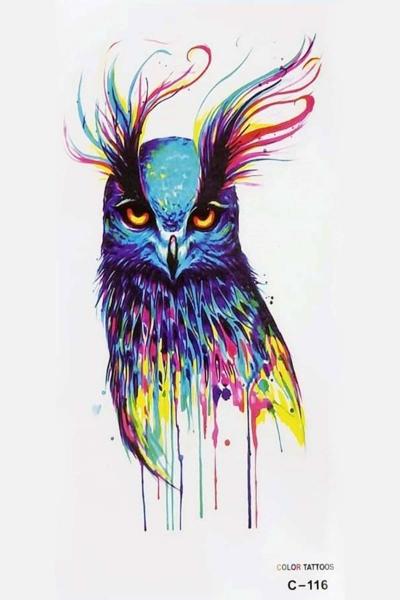 By Yuksel Ozkan - Renkli Kuş Geçici Dövme -Tattoo C-116