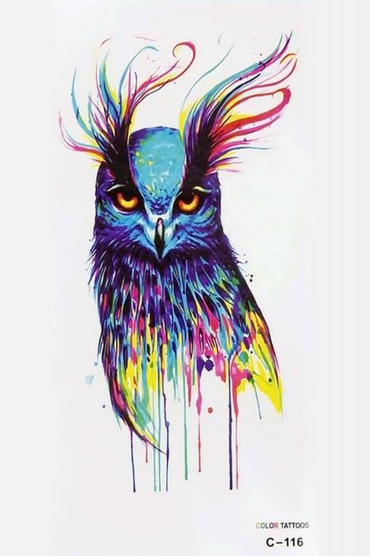Renkli Kuş Geçici Dövme -Tattoo C-116