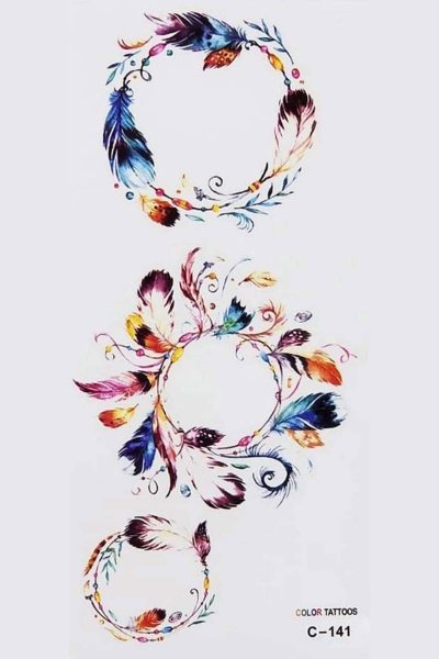 By Yuksel Ozkan - Renkli Tüyler Geçici Dövme -Tattoo C-141