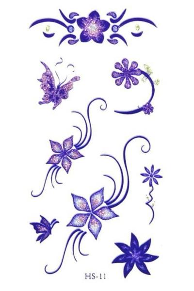 By Yuksel Ozkan - Renkli Yaldızlı Çiçekler Geçici Dövme -Tattoo HS-11