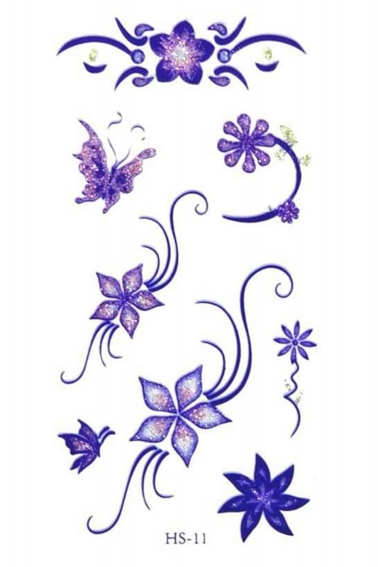 Renkli Yaldızlı Çiçekler Geçici Dövme -Tattoo HS-11