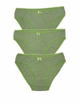 Şahinler - Gri Yeşil Biyeli Günlük Slip 3'lü Ekonomik Paket MB3069