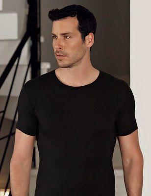 Şahinler - Siyah Bisiklet Yaka Kısa Kollu Modal Erkek T-Shirt ME118