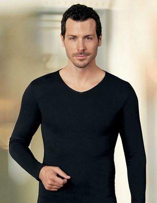 Şahinler - Siyah Uzun Kollu V Yaka Süprem T-Shirt ME075