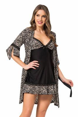 New Night - Siyah Zebra Desenli Gecelik Sabahlık Takımı 24268