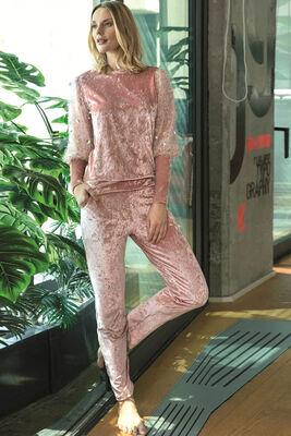 Anıl - Somon Kırçıllı Payet Detaylı Pijama Takımı 9665