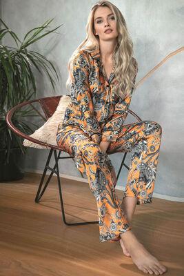 Anıl - Turuncu Şal Desenli Önden Düğmeli Saten Pijama Takımı 9721